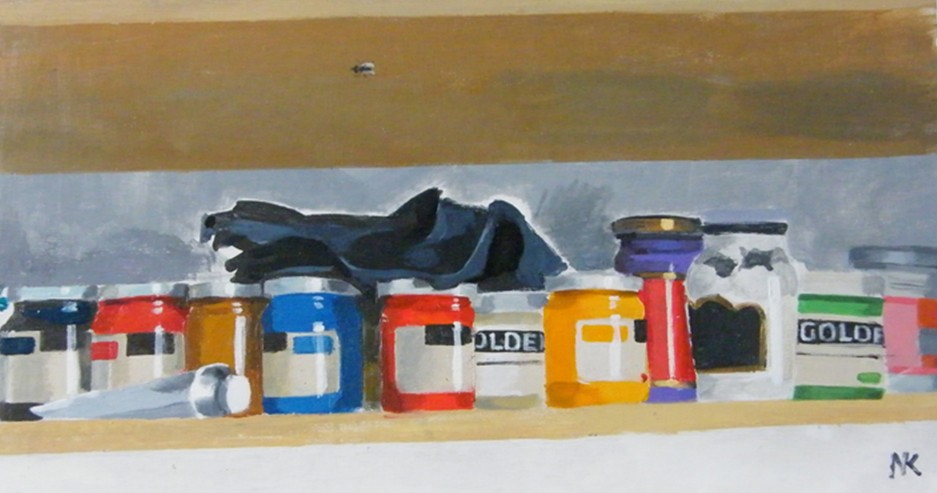 """Shelf with colours!"" , acryl on MDF,25 x 46 cm, 2010. -1000 euros"