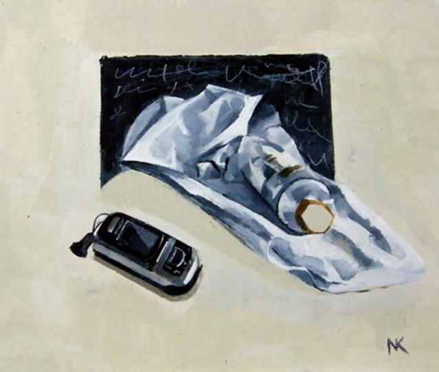 """Stillife with Mobil"" , acryl on MDF,31x36 cm, 2010. -600 euros"