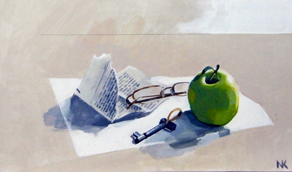 """Stillife with apple and glasses "" , acryl on MDF, 22 x 37 cm, 2010. -700 euros"