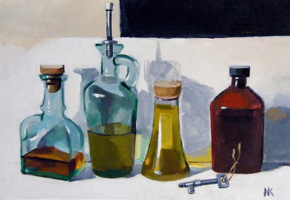 """Stillife with bottles"" , acryl on MDF, 25,5 x 37 cm, 2010. -800 euros"